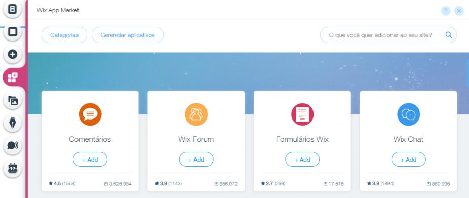 O Wix App Market pode adicionar diversos recursos
