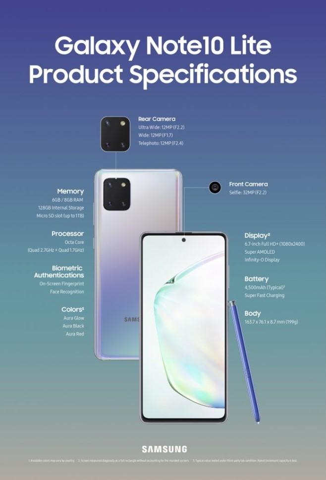 Ficha técnica do Galaxy Note 10 Lite