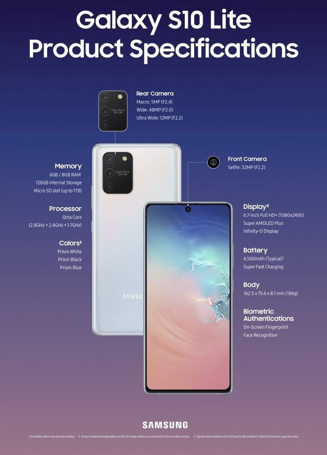 ficha técnica do Samsung Galaxy S10 Lite
