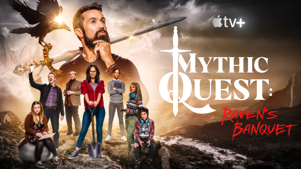 Poster oficial de divulgação de Mythic Quest: Raven's Banquet, que estreia em fevereiro. Antes da estreia, a empresa já anunciou a renovação da segunda temporada, ainda sem muitos detalhes