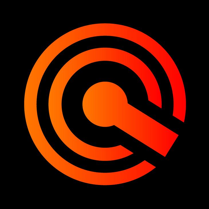 Ícone em alta resolução, laranja com fundo preto