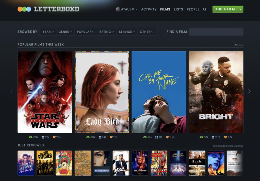 Letterboxd permite que acompanhamento de conteúdo.