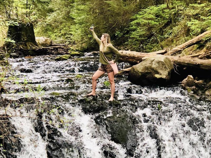 Selfie na cachoeira