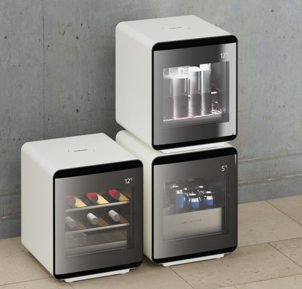 Os três modelos do Samsung Cube Refrigerator (Reprodução: Divulgação)