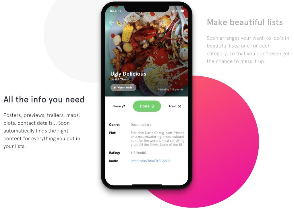 O Soon tem funções como recomendação de novos conteúdos e convite de amigos.