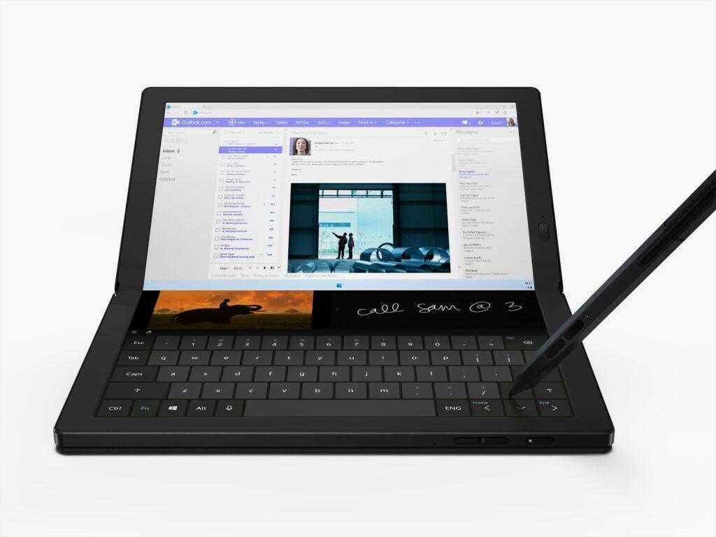 Visualização em modo retrato com teclado virtual do Thinkpad X1 Fold (Reprodução: Lenovo)