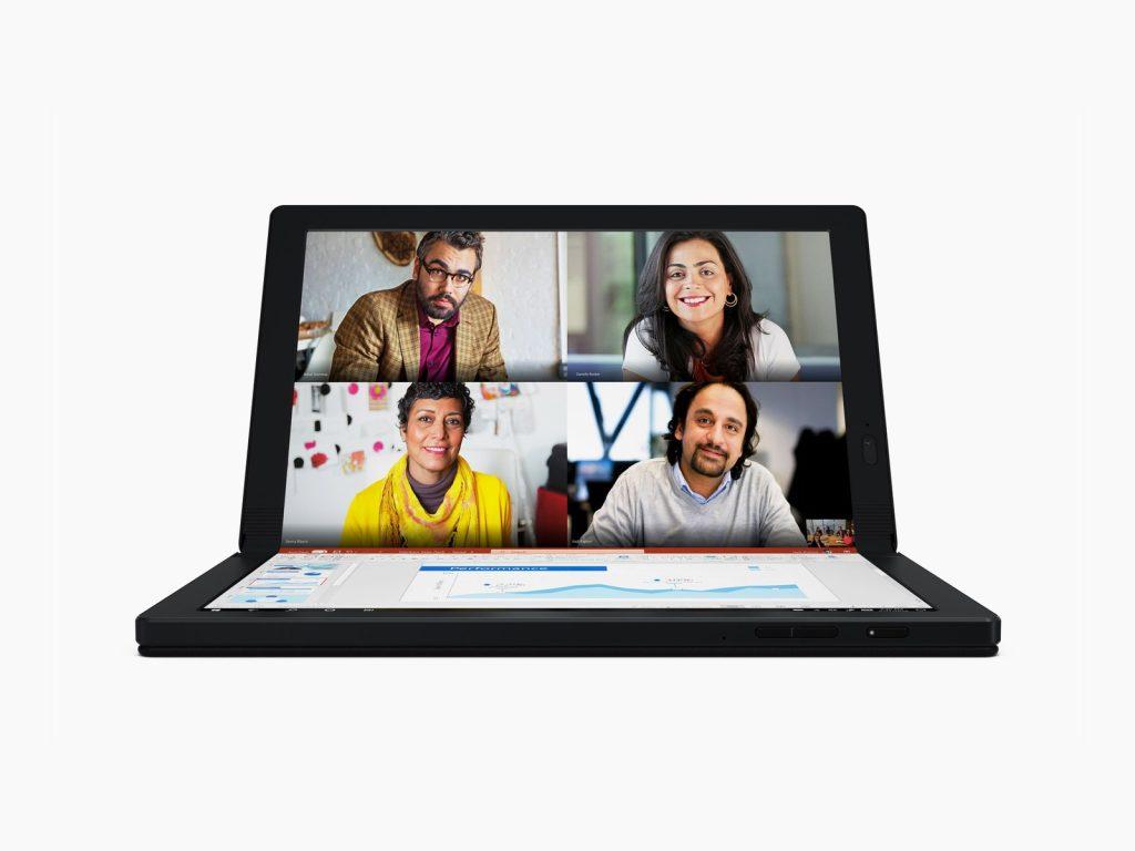 Thinkpad X1 Fold rodando dois programas ao mesmo tempo (Reprodução: Lenovo)