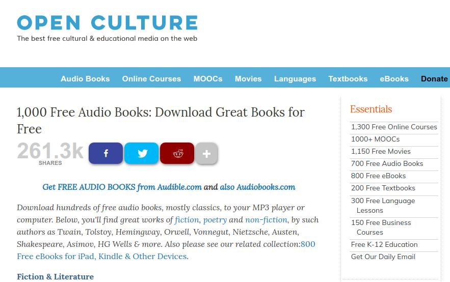 Além de audiobooks, o Open Culture oferece outras mídias educacionais