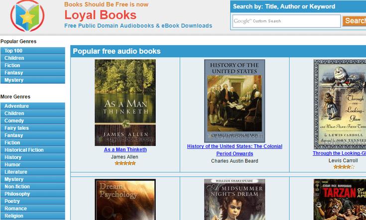 O Loyal Books posui uma biblioteca variada de audiobooks