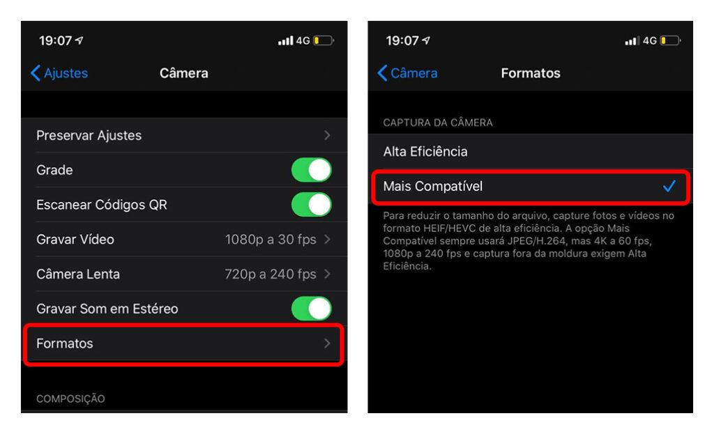formato .jpg e h.264 no iOS 11 ou superior