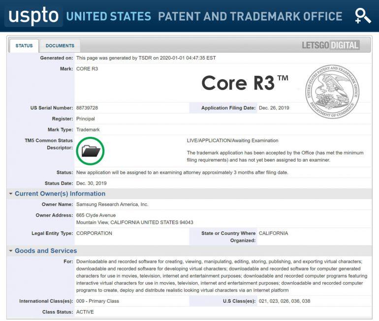 Pedido da samsung research america ao uspto relacionadas a quatro marcas (reprodução: letsgodigital)