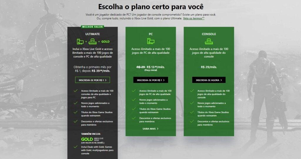 Tela com anúncio de preços do Xbox Game Pass. Dados descritos na matéria.