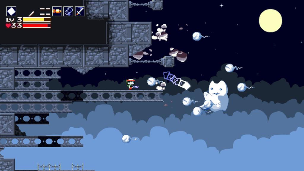 Tela de Cave Story em que o personagem Quote enfrenta vários inimigos.