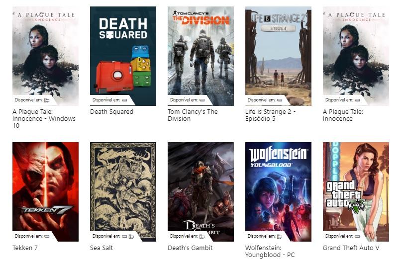 Tela de seleção com 10 jogos, entre eles títulos como GTA 5, Tekken 7 e Tom Clancy's The Division