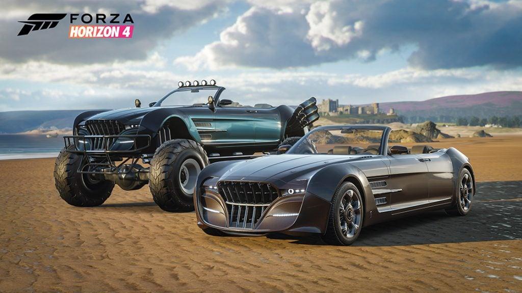 Imagem promocional do jogo Forza Horizon 4 em que dois carros estão em um terreno sem asfalto