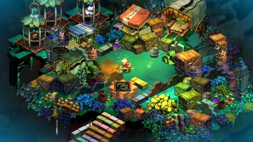 Tela de Bastion com personagens no meio de uma pequena vila