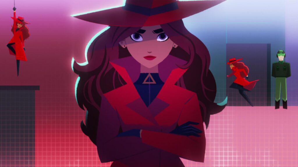 Ilustração com duas ações de Carmem Sandiego. À esquerda, suspensa por uma corda que ela segura na mão. À direita, passando por uma porta sem ser percebida pelo guarda.