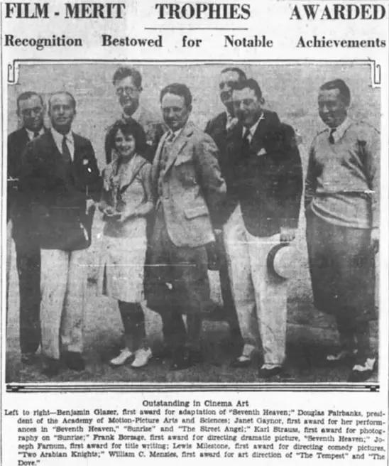 Primeira edição do Oscar estampa a capa do jornal L.A. Times, em 1929.