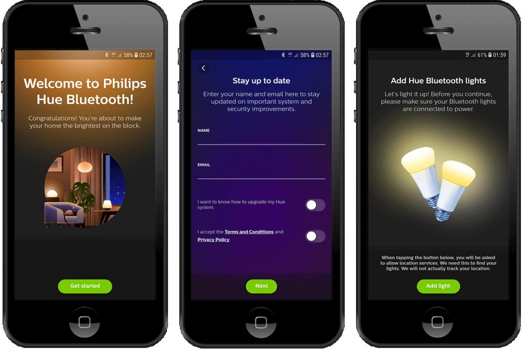 Imagem com 3 telas de configuração do aplicativo da Phillips Hue Bluetooth