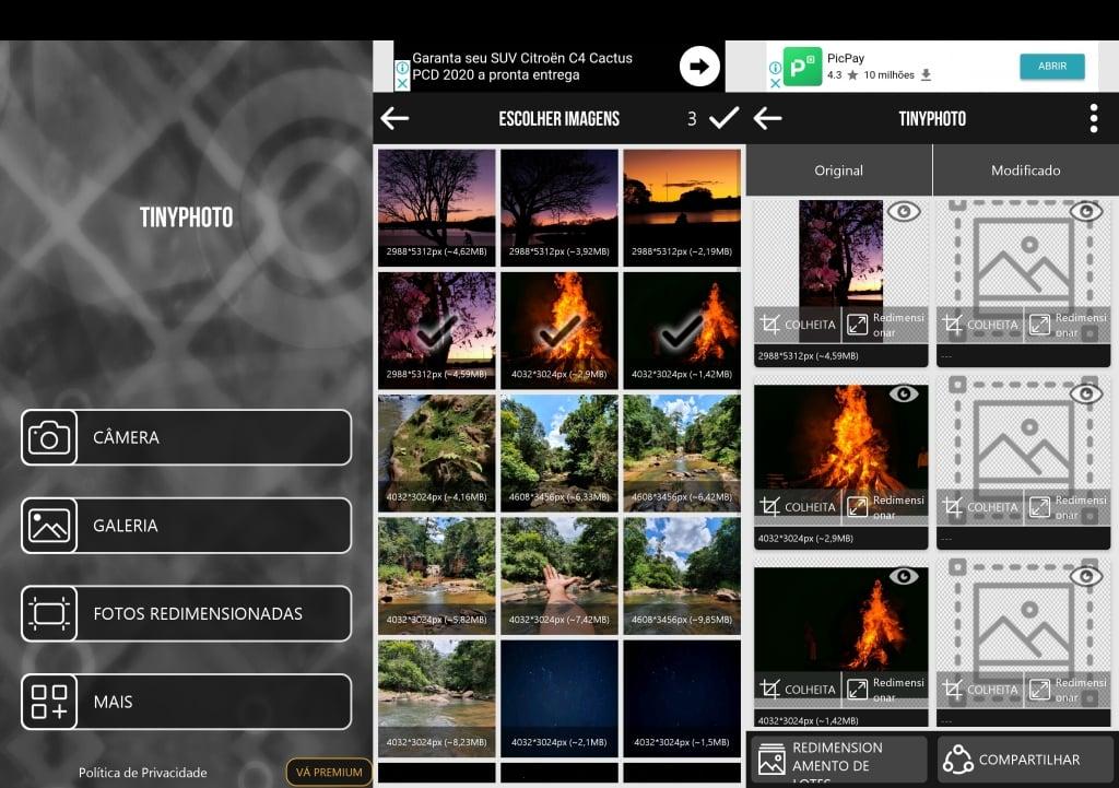 Telas do tinyphoto mostrando seleção e tratamento de imagens.