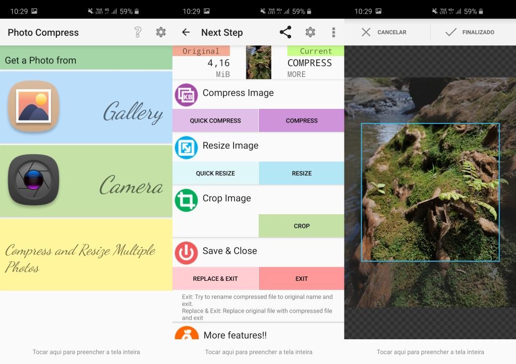 Telas completas do photo compress 2. 0 para android, mostrando opções de escolha, edição e gravação da imagem.