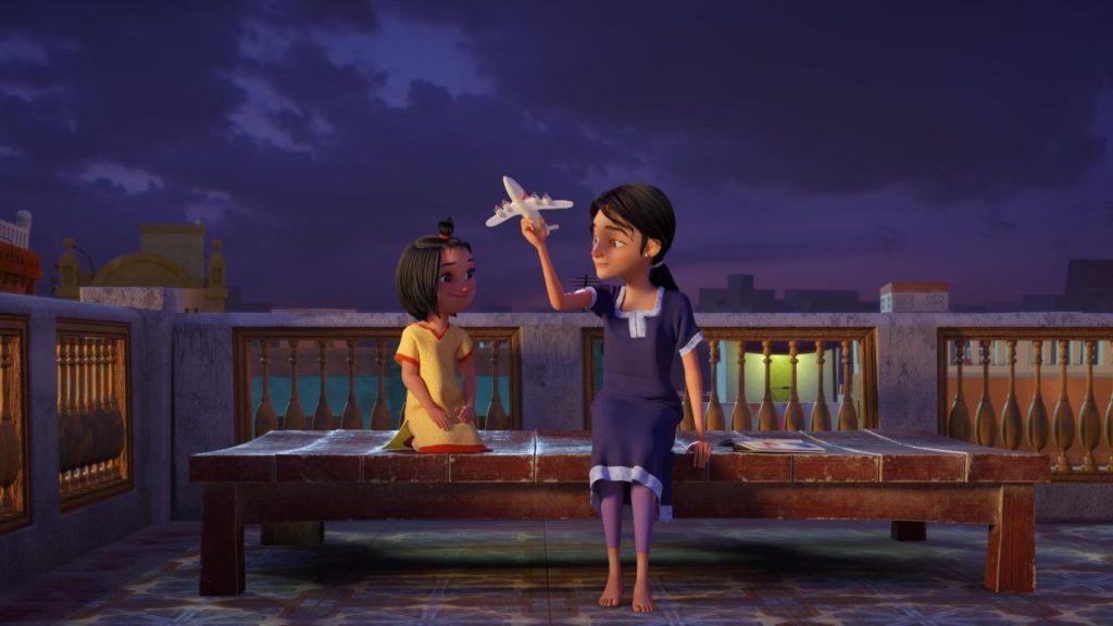 Nesta cena da animação, uma menina olha atentamente a uma mulher, que lhe conta uma história segurando um avião. As duas estão sentadas em um banco.