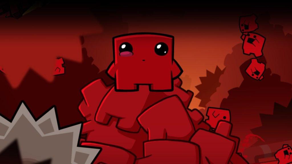 Tela de Super Meat Boy, um dos games indies da lista, com pequenos pedaços de carne desenhados com traços infantis