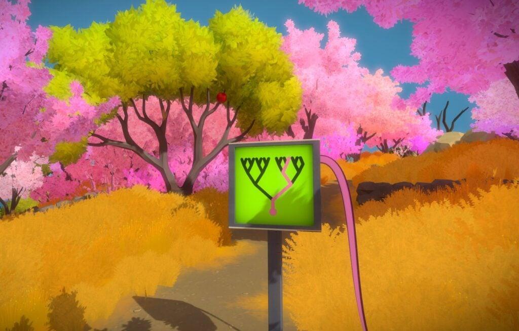 Tela de The Witness com a imagem de um quebra-cabeça com uma floresta ao fundo