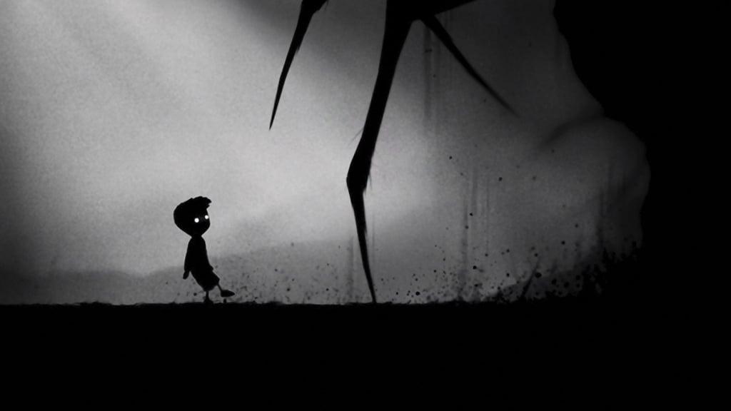 Tela de Limbo com um visual soturno e um garoto andando em uma paisagem