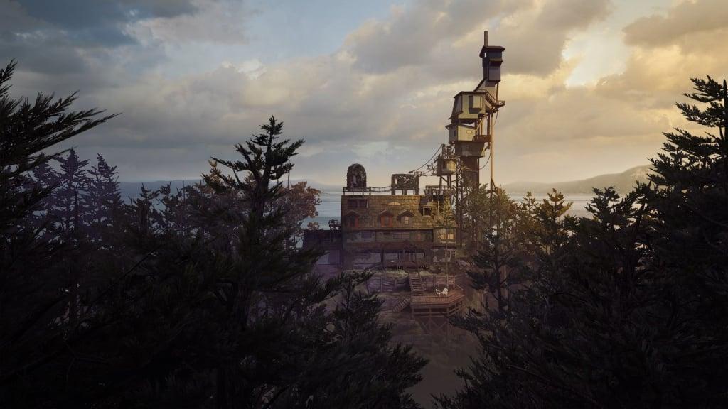 Imagem do jogo What Remains of Edith Finch com um grande casarão em meio a uma floresta durante o entardecer