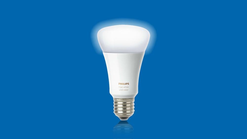 Arte da lâmpada LED inteligente Phillips Hue Bluetooth sobre um fundo azul
