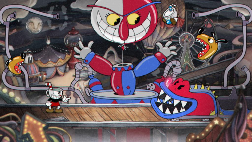 Tela de Cuphead com um cenário cheio de bonecos ameaçadores em um parque de diversões