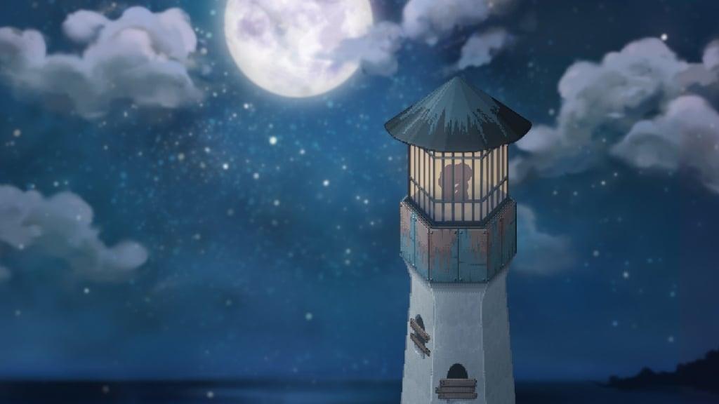 Tela do game independente To The Moon, em que a silueta de casal aparece dentro de um torre à luz do luar