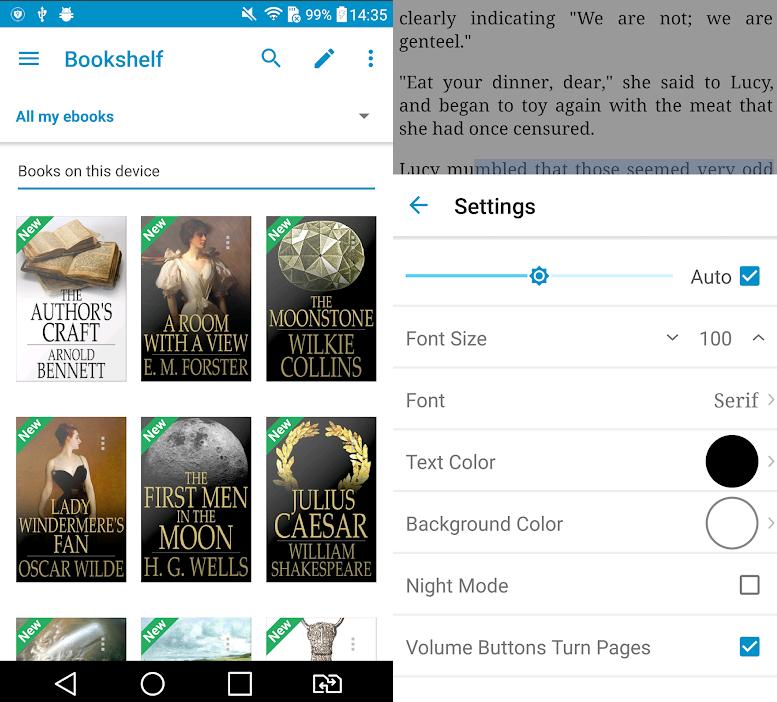A imagem mostra duas telas do app. A primeira com os livros gravados no celular e a segunda com uma configuração do texto para leitura.