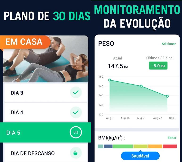 Duas telas do app: uma com o controle de exercício por dia e outra mostrando perda de peso do usuário em 30 dias.