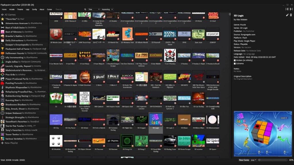 O acervo do Flashpoint conta com dezenas de milhares de games em Flash