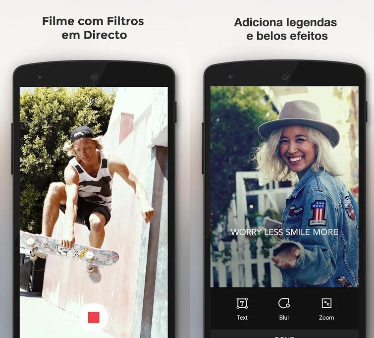 Telas mostrando aplicação e legendas em fotos