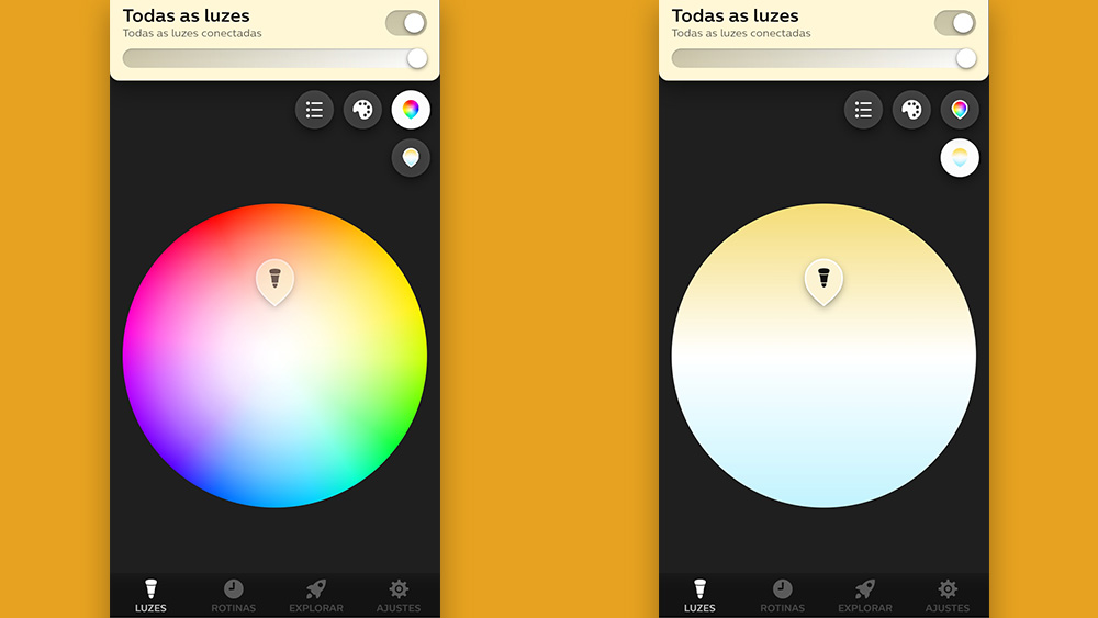 Tela do aplicativo Hue, nas abas cor e saturação