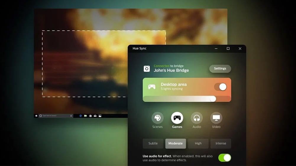 Imagem que mostra a tela do aplicativo Hue Sync