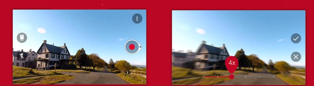 Reprodução de duas telas mostrando Hyperlapse acelerando vídeos