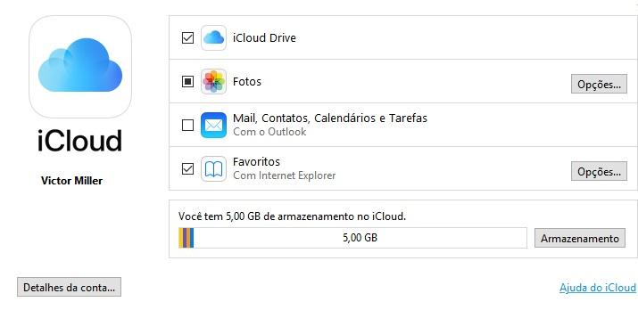 Após fazer o download do iCloud para o Windows e abrir o programa, virá uma tela semelhante a essa, caso tenha baixado a versão mais recente.