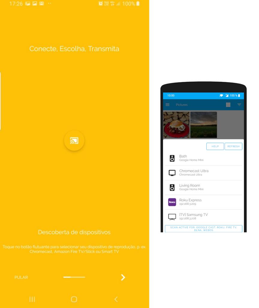 Duas imagens mostrando telas em que o app identifica conexões.