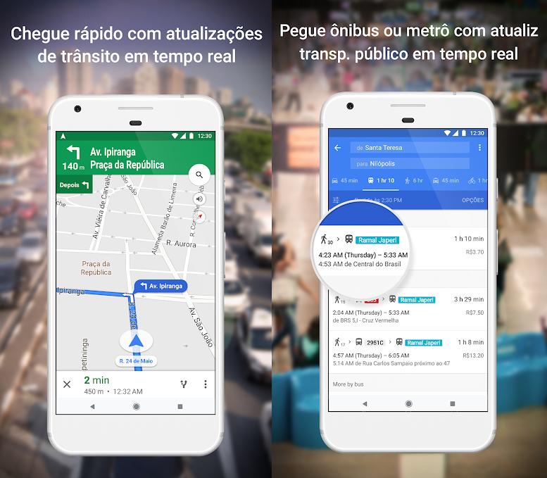 Duas reproduções de tela. À esquerda, GPS com carro. À direita, serviço com horários de ônibus.