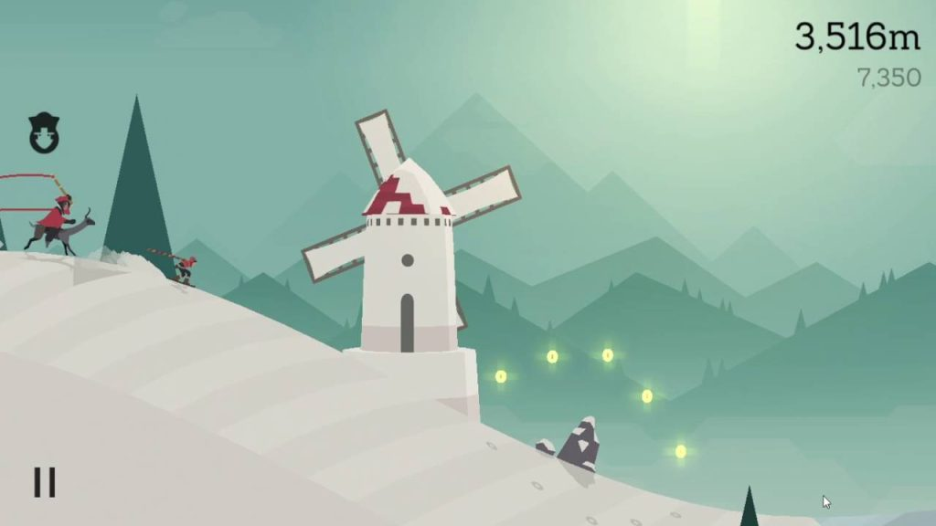 Alto's Adventure: Alto foge do vilão montado em uma alpaca, logo antes de chegar a um moinho de vento e saltar uma pedra.
