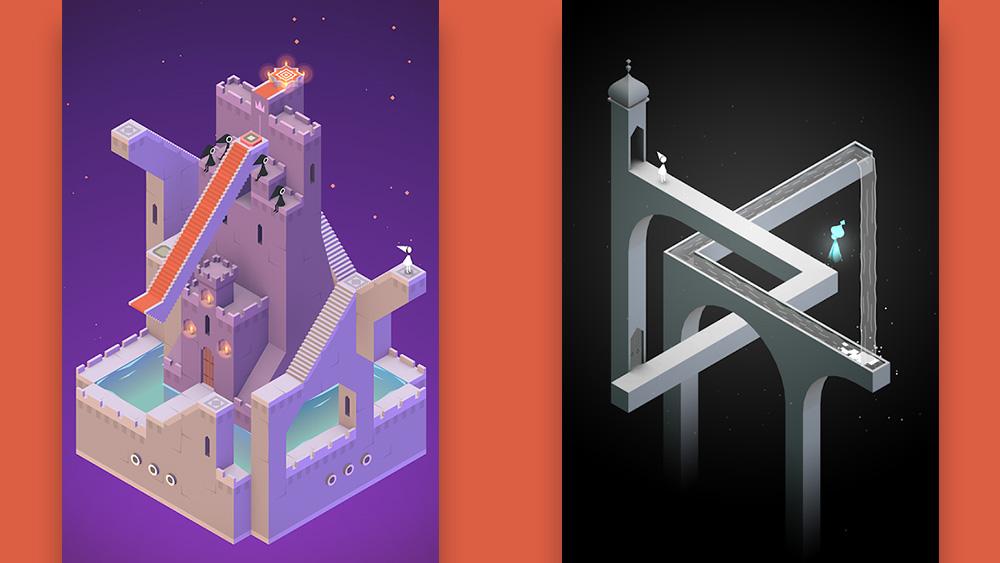 Aplicativo Monument Valley: um mapa de um castelo roxo do lado esquerdo e um aqueduto preto e branco do lado direito.