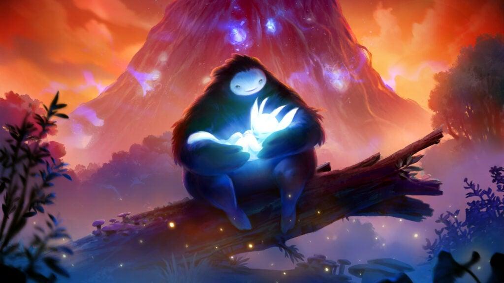 Tela do game independente com as personagens Ori e Naru em uma floresta.