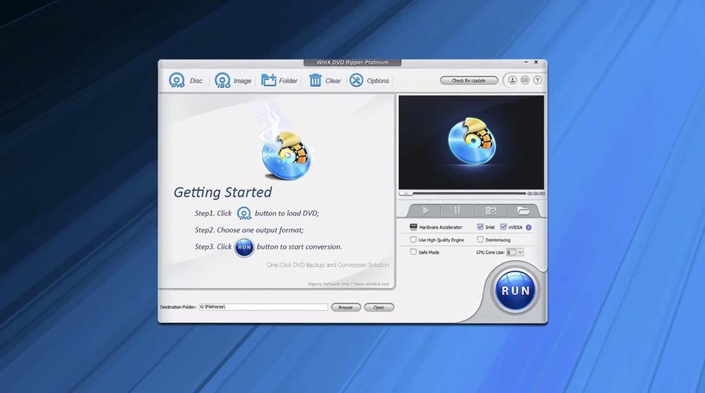 interface do winx para leitura e gravação de DVD