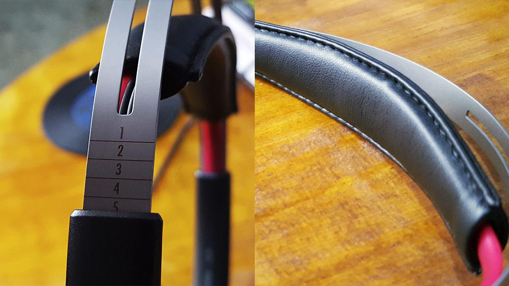 Ajuste de suporte para cabeça do headset voyager da plantronics, com detalhe para regulador mostrando os números de 1 a 5.