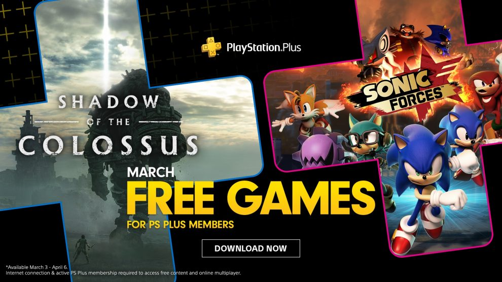 playstation plus march 2020 shadow of the colossus sonic forces