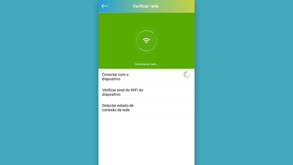 Tela do aplicativo positivo procurando por sinal de rede